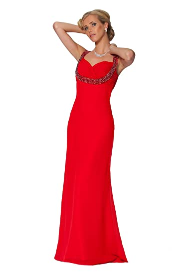 Sexy Red Beaded Evening Dress (UK20)