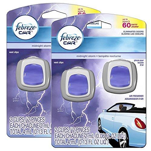Febreze Midnight Storm Car Vent Clip Air Freshener, 2 Packs of 2, 4 Clips Total (Car Febreze Vents)