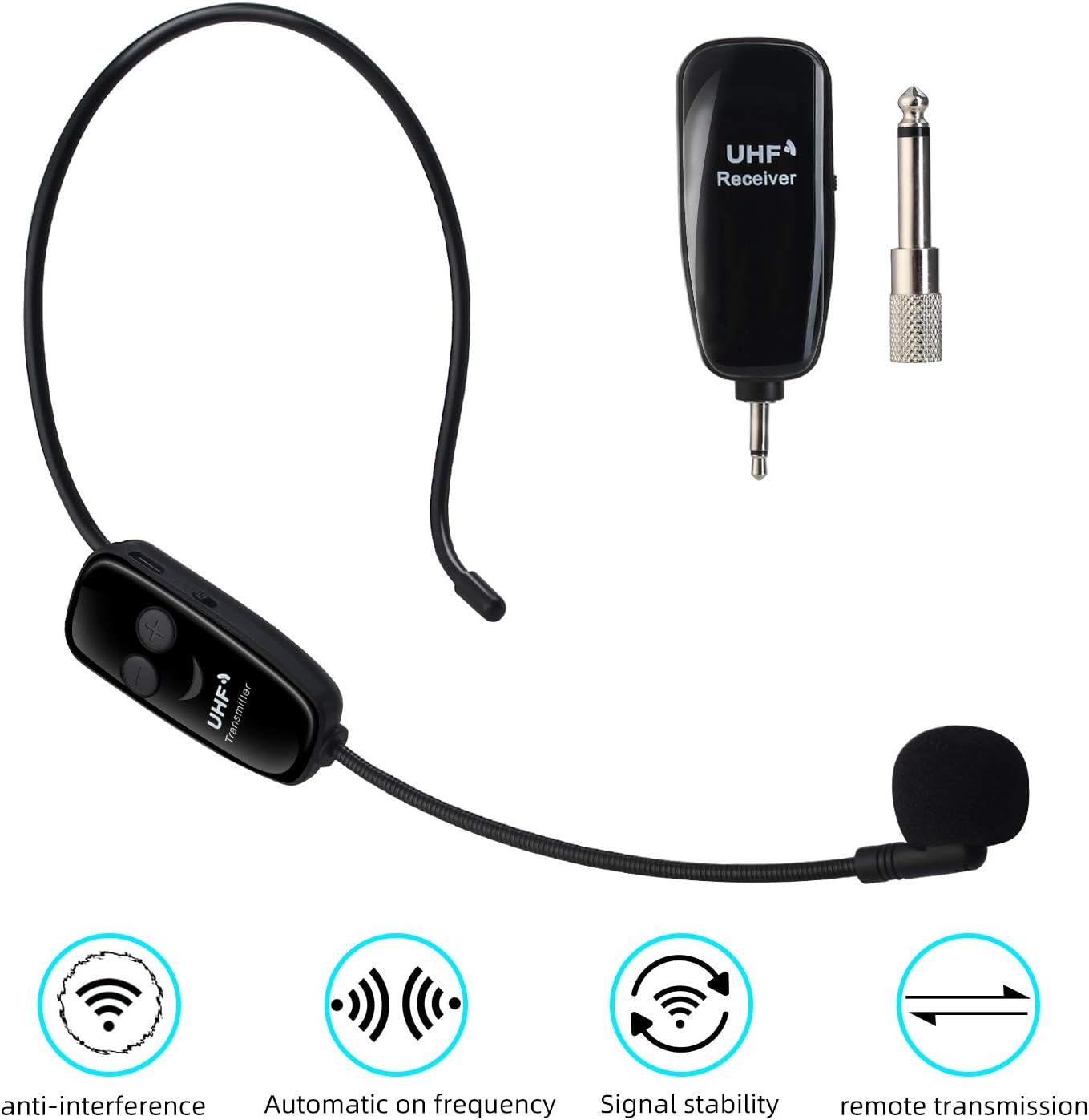 PELLOR UHF Micrófono Inalámbrico con Diadema, Micrófono Inalámbrico 2 en 1 para Amplificador de Voz, Transmisión Inalámbrica Estable 50m, Ideal para Ayuda Turístico,Rendimiento,Discurso