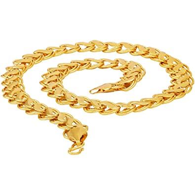 4489f710e56 Fashion Frill Most Popular Lotus Design Double Coated Designer Fancy Daily  Wear Gold Plated Metal Neck Chain For Men Boys: Amazon.in: Jewellery