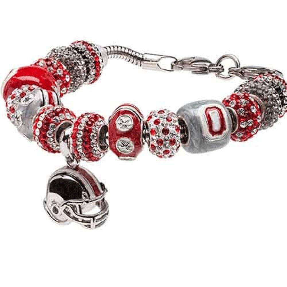 Ohio State Charm Bracelet | OSU Buckeyes Charm Bracelet with 15 Beads | OSU Gifts | OSU Jewelry | Officially Licensed Ohio State Jewelry | Stainless Steel