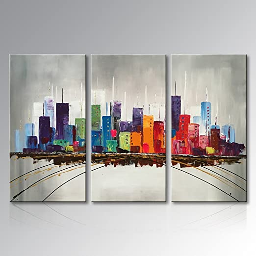 Contemporary Abstract Color Cityscape oil painting Print on Canvas Wall Art Deco
