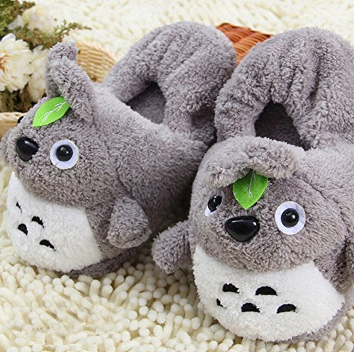 Etrony Winter Warm Plush Animal Slippers Indoor Home Slippers for Women, Totoro
