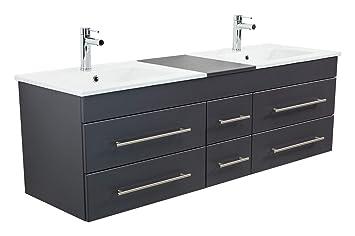 Emotion Meuble salle de bain double vasque Roma XL anthracite satiné ...