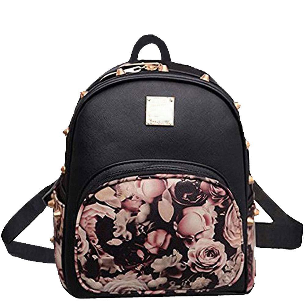 Donalworld Women Floral School Bag Travel Cute PU Leather Mini Backpack M Black1