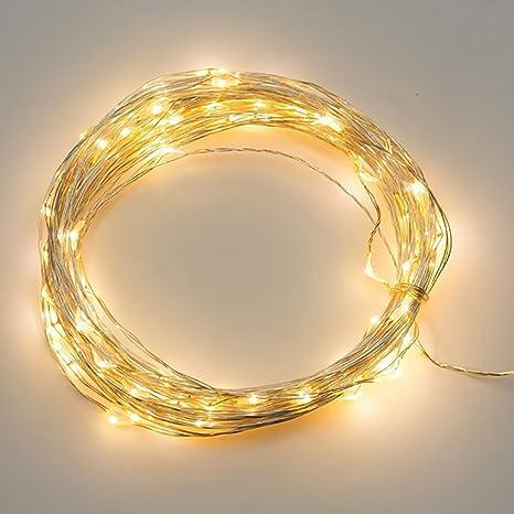 100 LED Weihnachtslichterkette Kupferdraht Wasserdichte Warmweiß Lichterkette