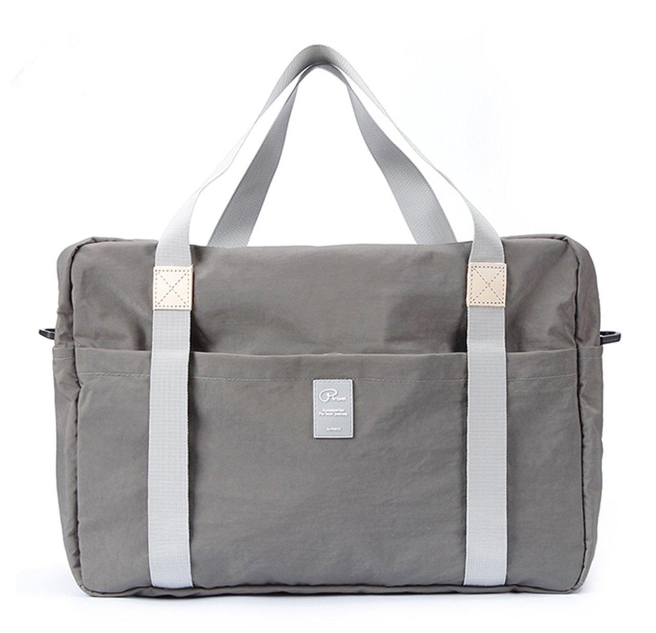 Women Foldable Canvas Bag,Waterproof,Lightweight,Weekender Travel Casual Shoulder Trolley Bag (Middle Grey)