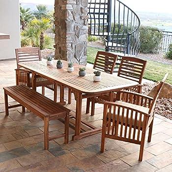 Amazoncom Delgado 7 Piece Outdoor Dining Set Wood Table w