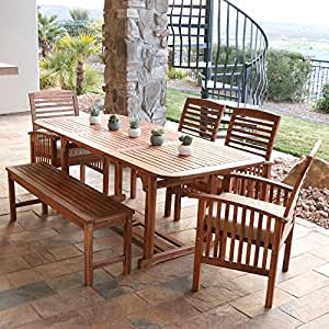 Amazon Com We Furniture Solid Acacia Wood 6 Piece Patio