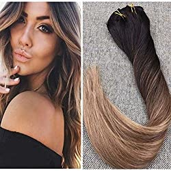 Ugeat 14inch Full Head Real Human Hair Extensions Balayage Ombre Color #2 Fading to #6 Brown with #12 Straight Remy Human Hair Clip in Extensions 10Pcs 120Gram
