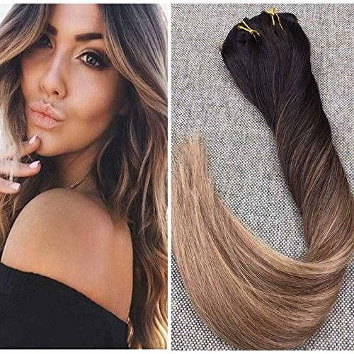 Ugeat 18inch Hair Extensions Clip in Human Hair 120Gram 10PCS Ombre Color #2 Fading to #6 Brown with #12 Clip in Hair Extensions Remy Human Hair
