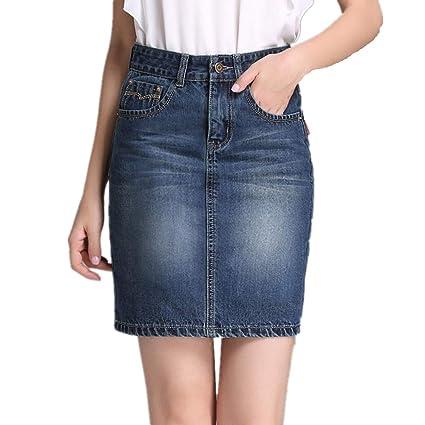 911558bfa WUSHIYU Minifaldas de Cintura Alta para Mujer Falda Vaquera con ...