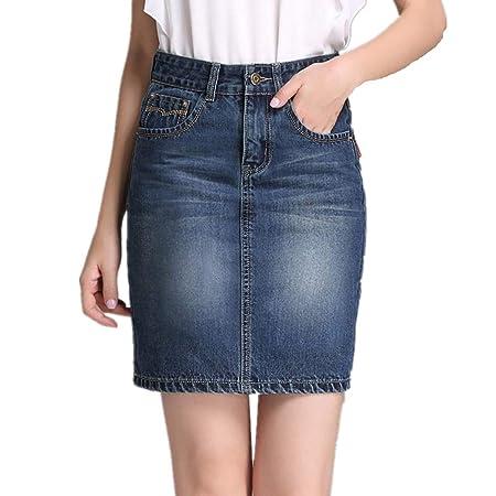 WUSHIYU Minifaldas de Cintura Alta para Mujer Falda Vaquera con ...