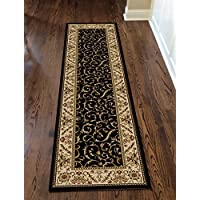 Radici 1599 COMO Rugs, 2-Feet 2 by 7-Feet 7-Feet, Black