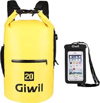 10 litros 20 litros 30 litros Bolsa seca Giwil, Roll Top bolsa impermeable Bolsa estanca impermeable de capacidad, Bolsa Impermeable perfecta para la playa y deportes al aire libre mochila (Senderismo,