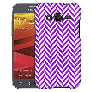 Samsung Galaxy Core Prime Case, Slim Fit Snap On Cover by Trek Chevron Mini Purple White Case