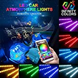 #8: Car LED Strip Light- Carantee 4pcs 48 LED Bluetooth App Controller Car Interior Lights, Multicolor Music Underdash Lighting Kits with Sound Active Function for iPhone Android Smart Phone, Car Charger