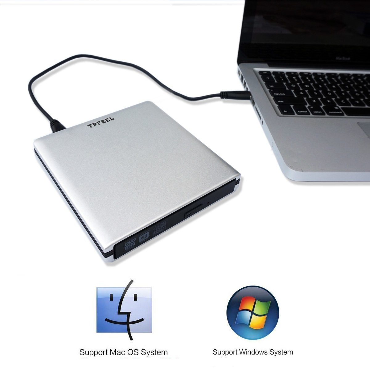 External USB3.0 USB C Lightscribe DVD CD Burner Drive,TPfeel Aluminum Portable Type-C USB-C CD/DVD-RW Burner Lightscribe Writer Player for Apple iMac MacBook and All Laptop Desktop