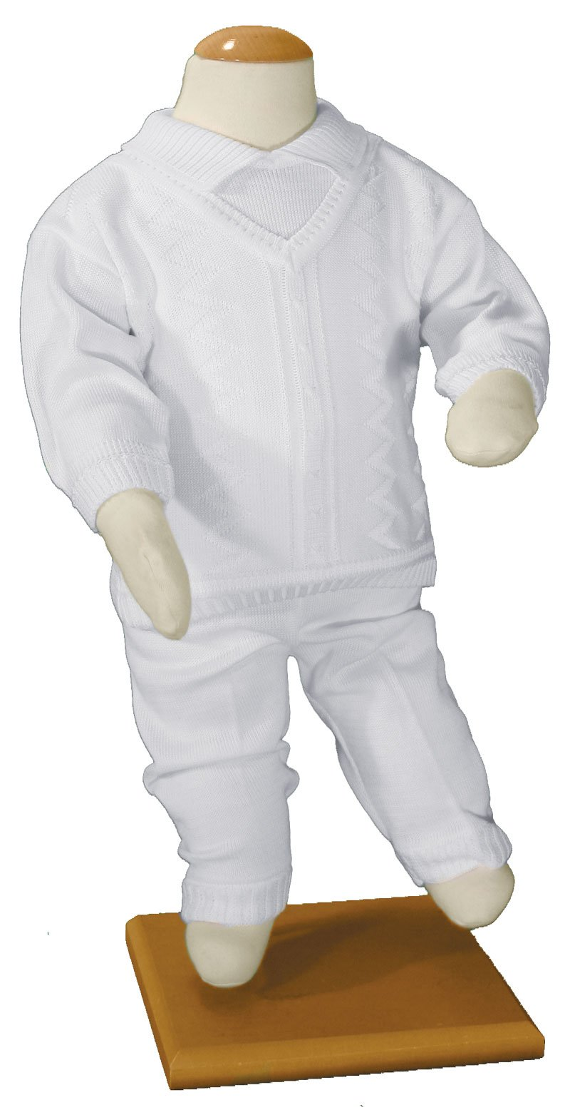 Boys 100% Cotton Knit Two Piece White Christening Baptism Outfit, 03 Month by Little Things Mean A Lot (Image #3)