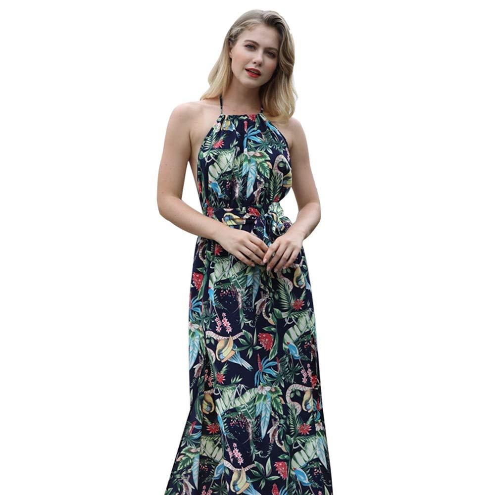 bluee Women's Cocktail Party Dress Women's Bohemian Sling Dress Summer Polyester Printed Back Beach Dress Pencil Dress (color   Black, Size   XL)