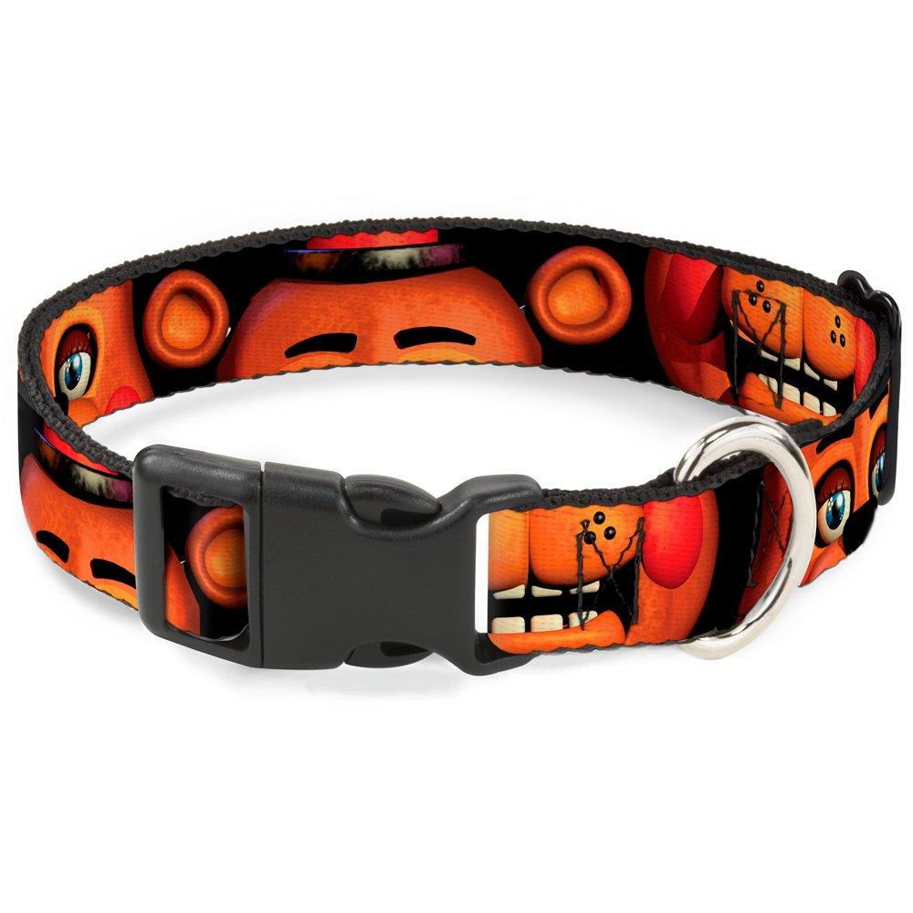 1 2\ Buckle-Down Toy Freddy's Eyes Ears Mouth Close-UP Black  Breakaway Cat Collar, 1 2  x 8-12  Medium