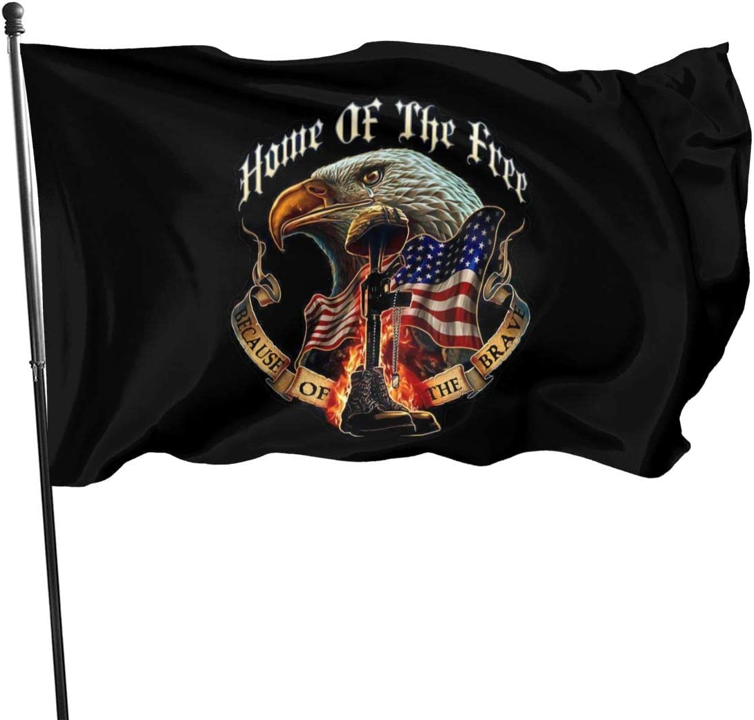 Home of The Free Because of The Brave Flags 3x5 Ft, Vivid Color and UV Fade Resistant with Grommets Double Stitched