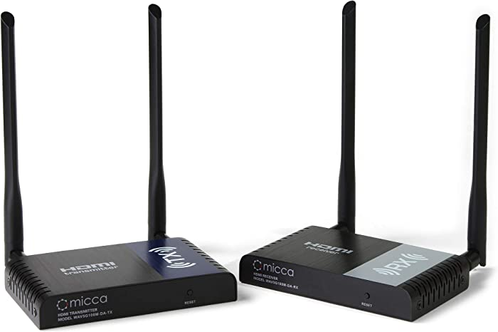 Micca Wireless HDMI Extender 1080P Full HD 330ft Long Range 5GHz Transmitter and Receiver with IR Pass-Back