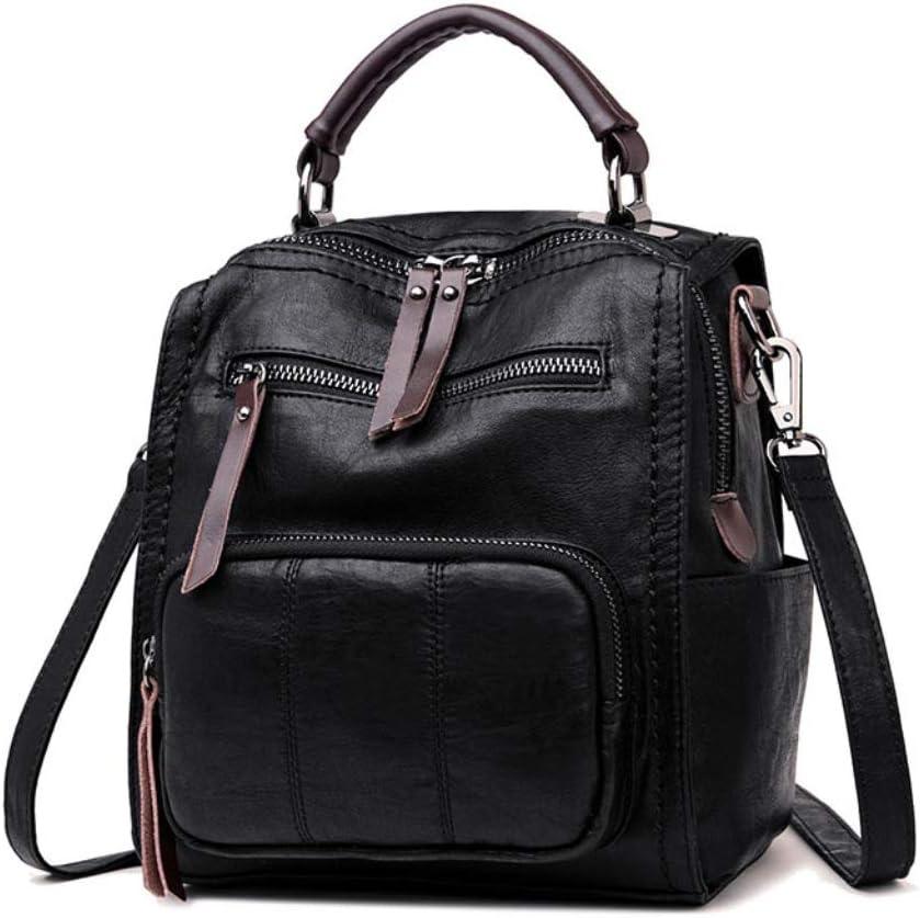 LJL Korean Version of The Wild Retro British Wind Handbags Fashion Shoulder Slung Dual-use Backpack Color : Black