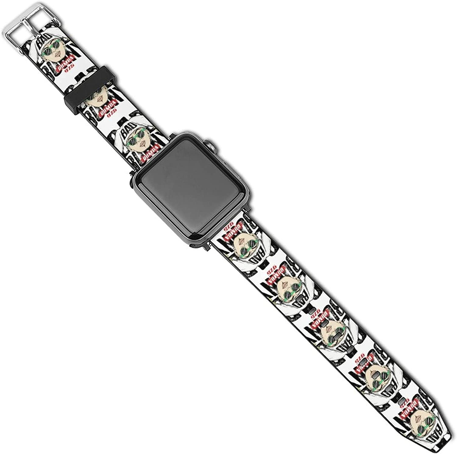 Ba-d Bu-nny Cool Patterned Leather Wristband Strap Compatible with Apple Watch Series 6/5/4/3/2/1