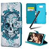 S8 Plus (2017) Case,Samsung Galaxy S8 Plus Wallet Case,Galaxy S8 Plus Kickstand Case,SKYMARS PU Leather Shock Absorbing Bumper Art Painting Kickstand Cards Slot Wallet Magnet Stand Flip Folio Cover Case for Samsung Galaxy S8 Plus (2017) Blue Skull