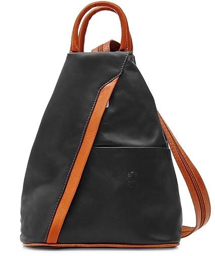 8c8d3283ffc07 Handbag Bliss Vera Pelle Super Soft Italian Leather Backpack Rucksack  Convertible Shoulder Bag (Black & Tan): Amazon.co.uk: Luggage