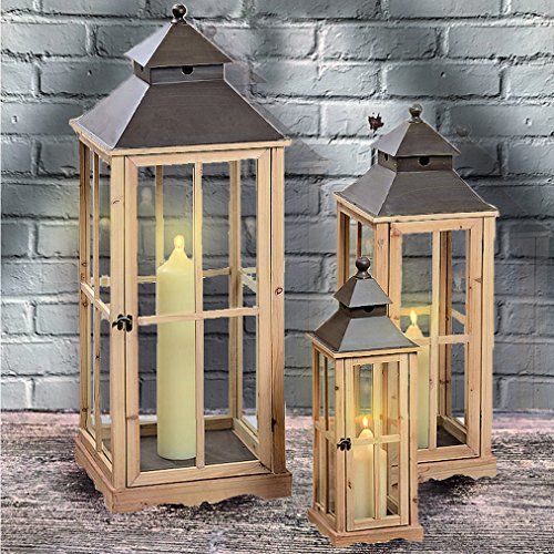 The Extra Tall French Country Style Rustic Lanterns, Set of 3, Chateaux Style, Metal Roof, Swing Latch, Cross Post Glass Panels, Natural Wood Frames, From 2 to Over 3 FT Tall, By Whole House Worlds by Whole House Worlds