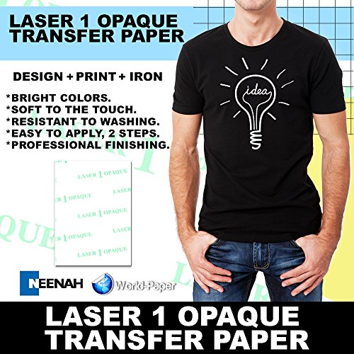 "LASER TRANSFER PAPER FOR DARK FABRIC: NEENAH ""LASER 1 OPAQUE"" (8.5""X11"") 100Pk :)"