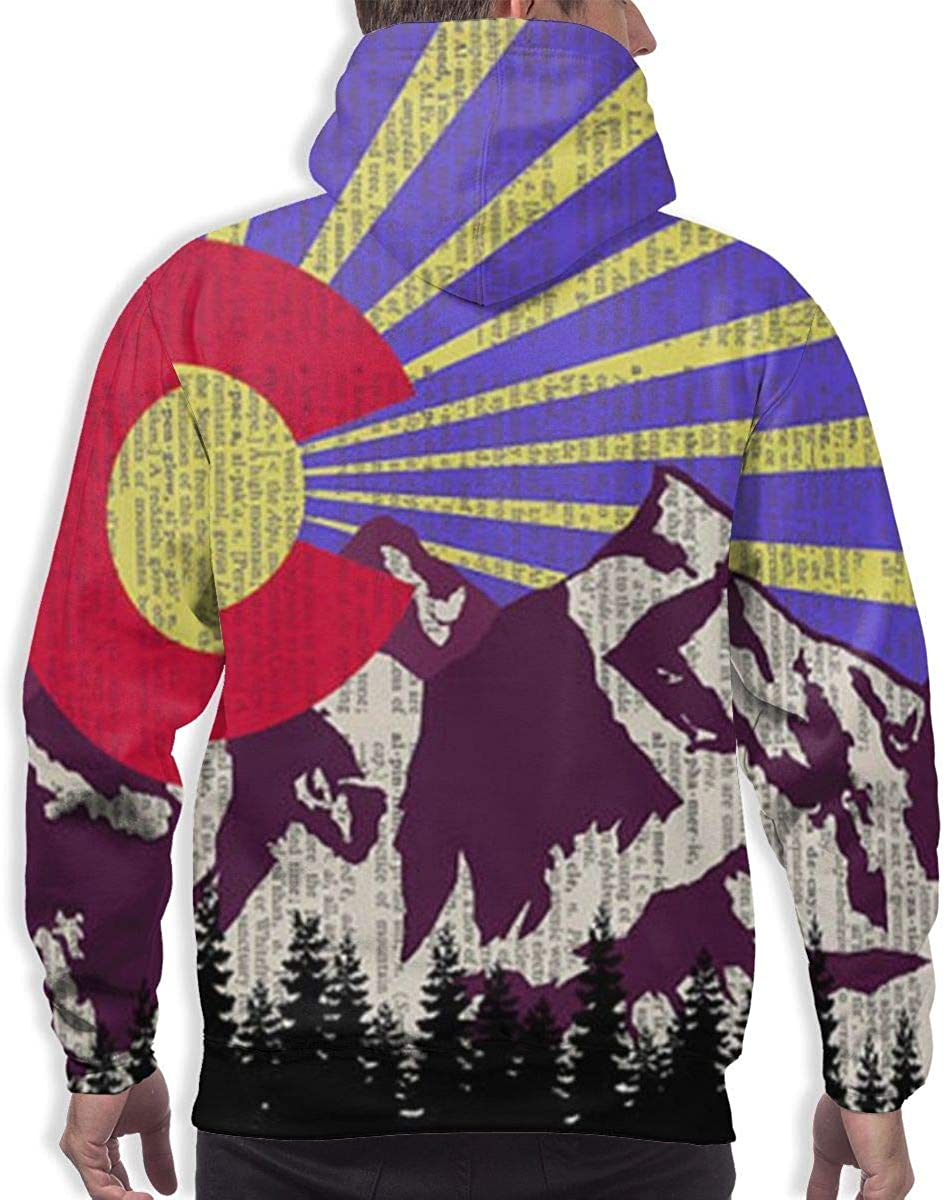 GUAHUAXIANG Athletic Pullover Sweatshirt Sportswear for Mens Ancient Colorado Mountain Flag Purple