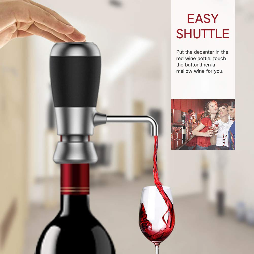 Electric Wine Aerator Pump, Wine Decanter and Pourer Stainless Steel Wine Decanter Instant Decanting Breathing Wine Dispenser Kitchen Tool for Red and White Wine