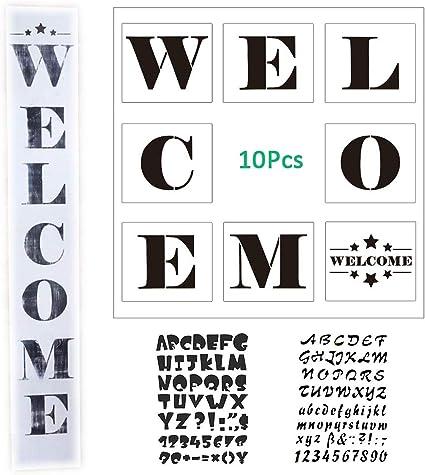 Amazon.com: Juego de 10 plantillas de bienvenida para pintar ...