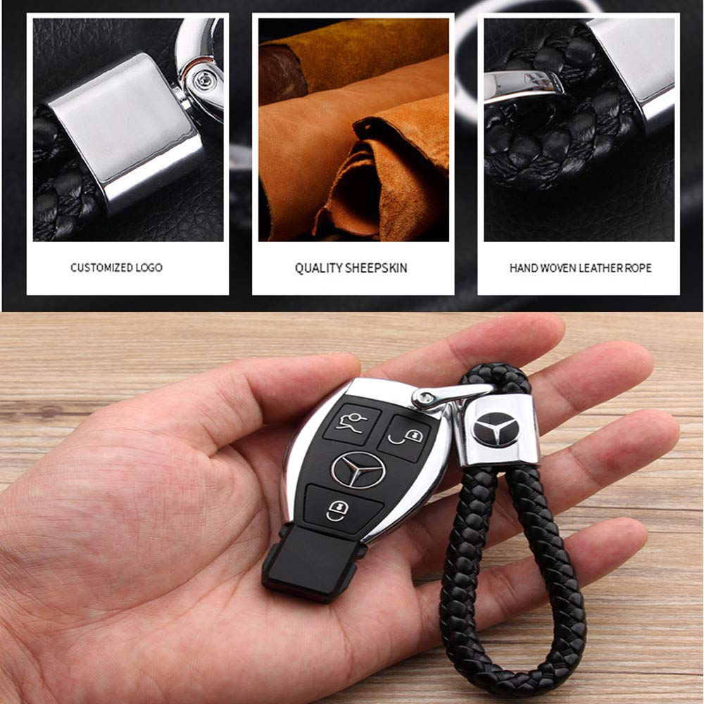 VILLSION 2Pack Genuine Leather Car Logo Keychain Keyring Key Chain