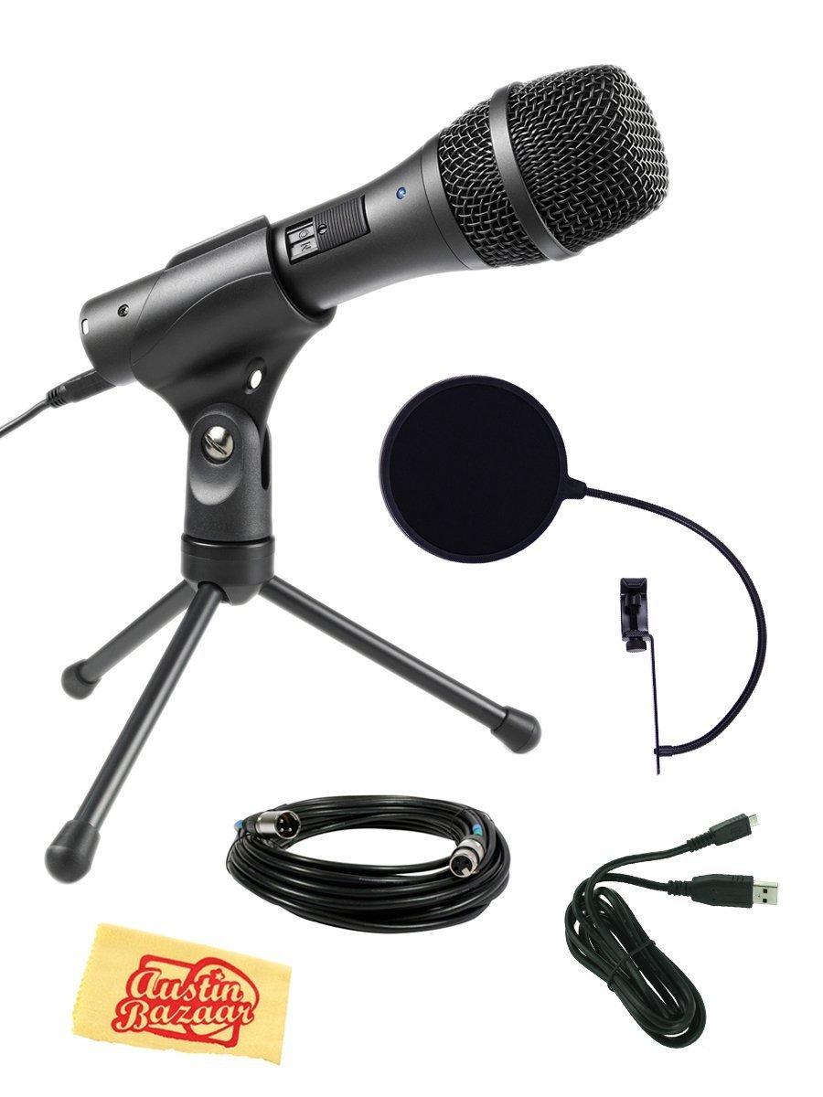 Audio-Technica AT2005USB Cardioid Dynamic USB/XLR Microphone Bundle with Pop Filter, XLR Cable, USB Cable, and Austin Bazaar Polishing Cloth, Black,