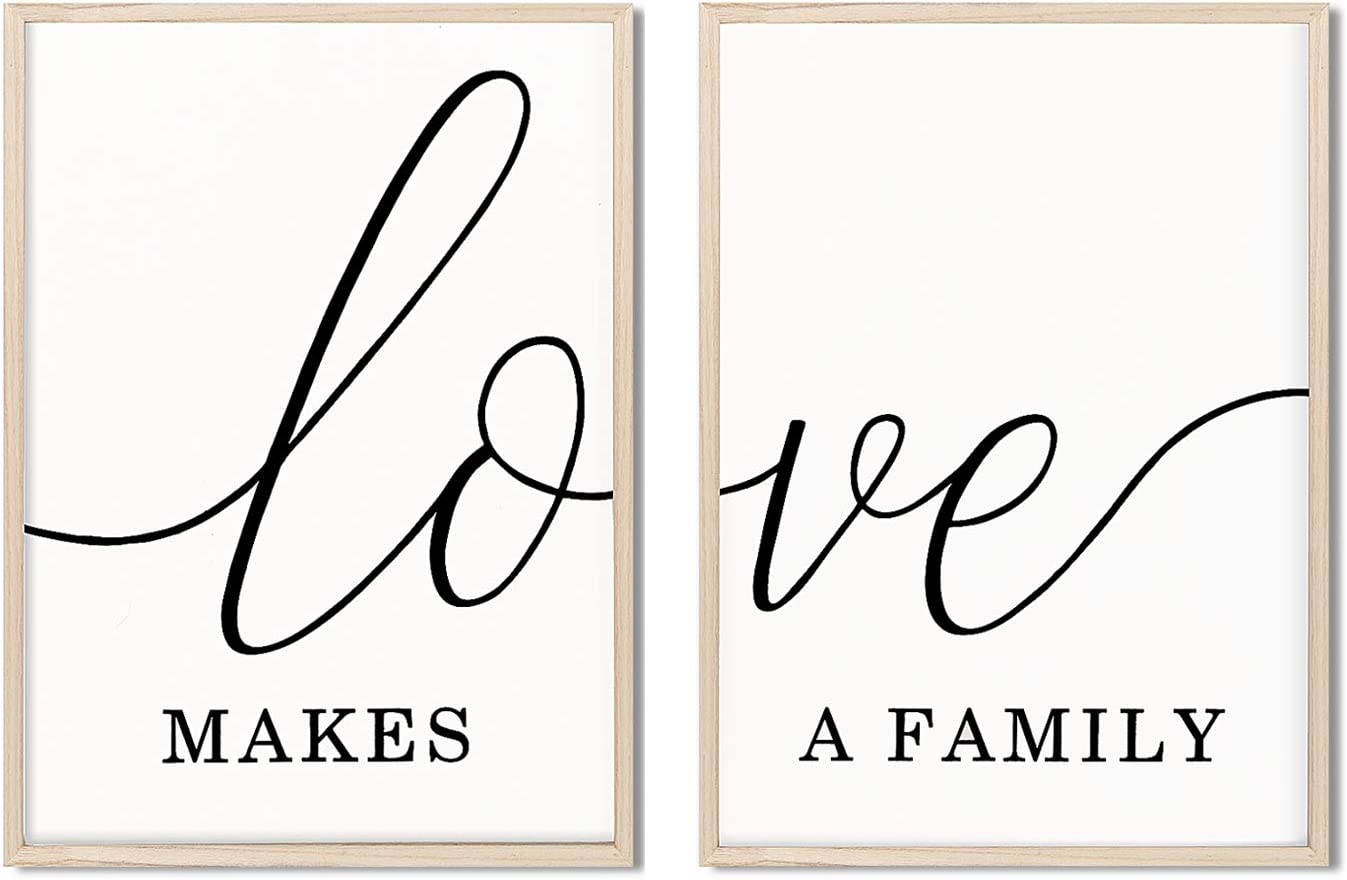 Mokof 2 Pack Love Sign Decor, Farmhouse Wood Wall Signs Decoration for Bedroom Living Room, 17