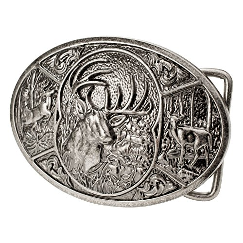 Buckle Rage Adult Men's Deer Hunting Woods Buck Southern Antler Head Belt Buckle Silver - Design Belt Buckle