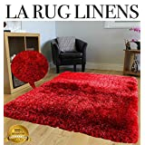 LA RUG LINENS 8x10 Blowout Sale Brand New Two Tone Red Shaggy Shag Area Rug Carpet Fuzzy Flokati Fluffy Furry Puffy Popcorn High Pile Thick Soft Ultra Plush Solid Design