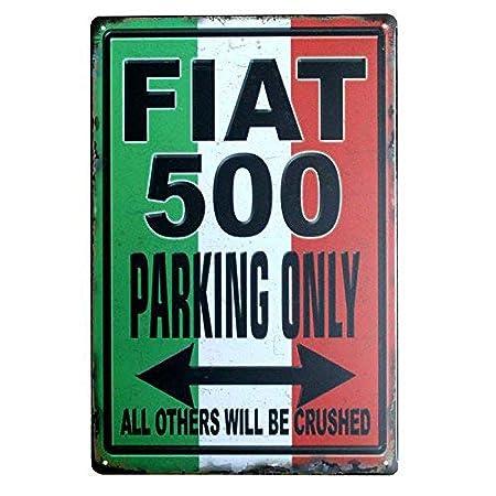 SALWON Fiat 500 Parking Only -Cartel De Chapa Advertencia ...