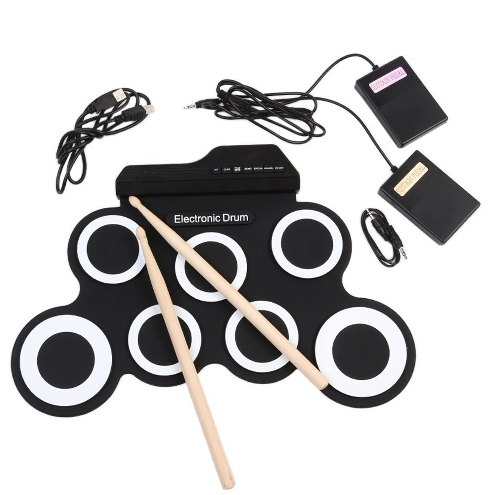 Hand Roll USB Electronic Drum Portable Drums Practice Drums Folded Silicone Hand Roll Electronic Drums Drums