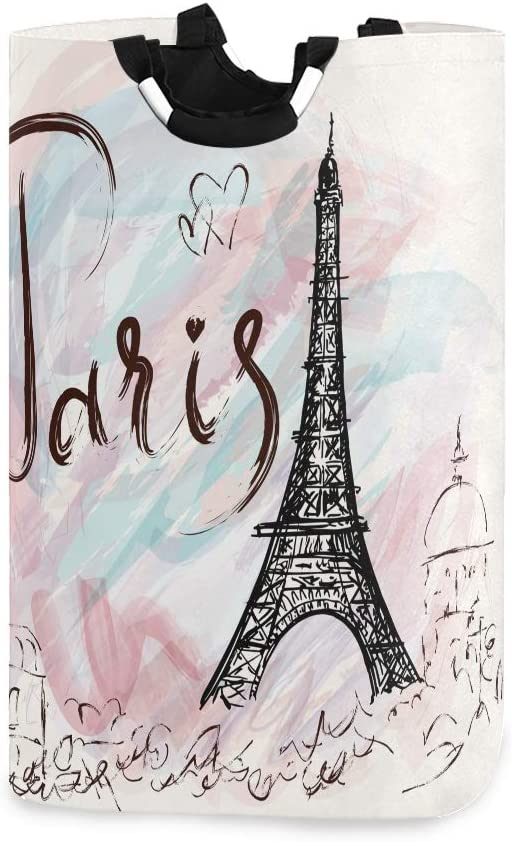 Hand Drawn Paris Eiffel Tower Laundry Hamper Basket Bucket Foldable Dirty Clothes Bag Washing Bin Toy Storage Organizer for College Dorms, Kids Bedroom,Bathroom