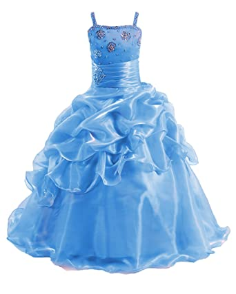 fc00d7938efd Henglizh Long Organza Ball Gown Formal Party Dress Flower Girl Spaghetti  Straps Sequins Pageant Dresses Blue