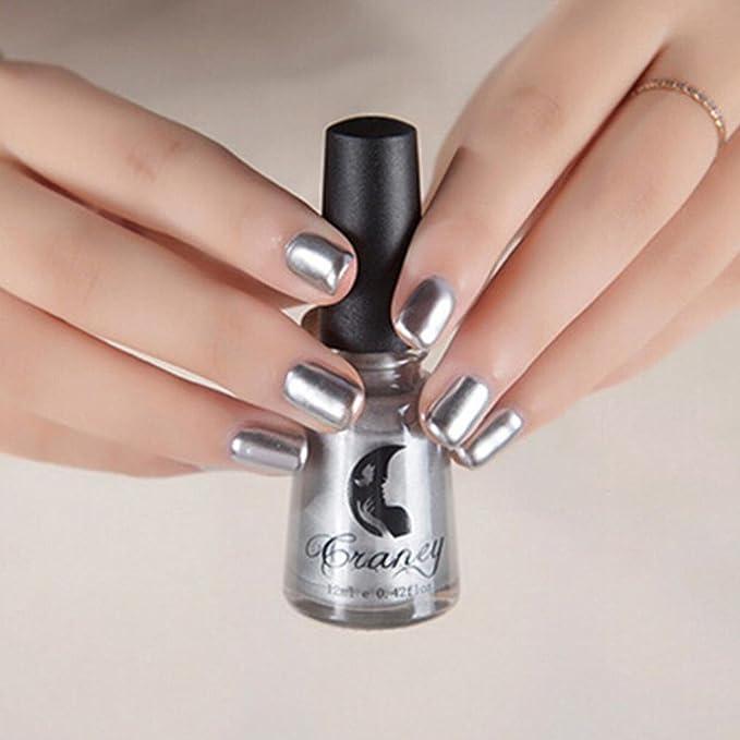 FEITONG Espejo Esmalte de Uñas Cola de Plata Metal Color Acero ...