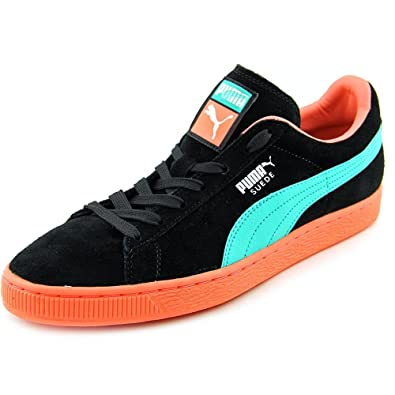 PUMA 356328 Mens Suede Classic+ LFS Shoes, Black/Fluo Teal/Fluo Peach -