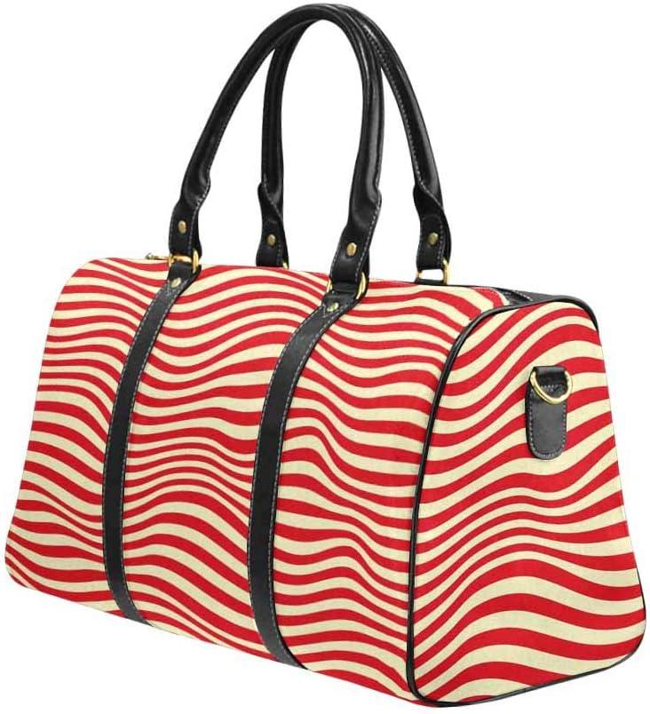 InterestPrint Carry-on Garment Bag Travel Bag Duffel Bag Weekend Bag Red Striped
