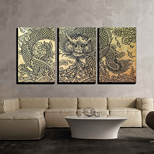 - wall26 - 3 Piece Canvas Wall Art - The Old Pattern of Dragon - Modern Home Decor Stretched and Framed Ready to Hang - 24