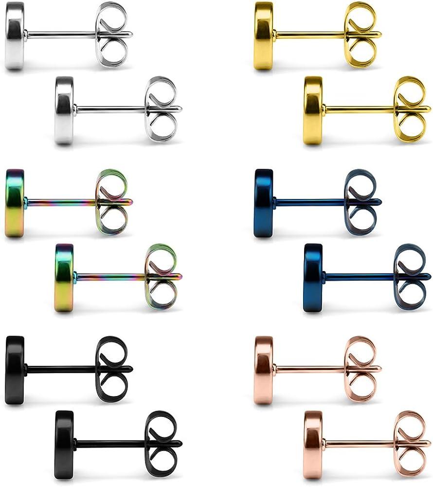 SCERRING 6 Pairs 20G Stainless Steel Flat Top Stud Earrings Set for Men Women Barbell Stud Earrings Same Sizes 3-8mm